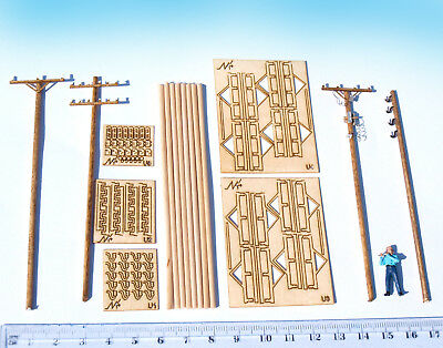 HO scale Electric Utility Poles kit, Miniature Telegraph model diorama HOn3 wood