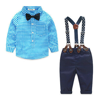 AU Newborn Kids Baby Boy Bow Tie Plaid Shirt+Suspender Pants Trousers Outfit Set