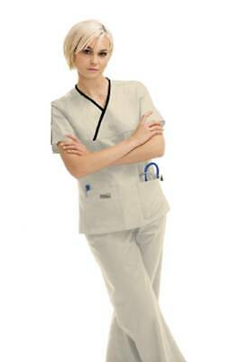 4a1af2e35301c Urbane Scrubs 9534 Women's Double Pocket Crossover Top, Almond/Black,  X-Small