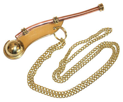"5"" Brass Boatswain Whistle w Chain Bosun Call Pipe Nautical Marine chrome finish"