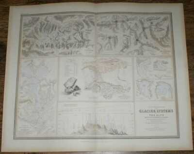 Map: 1848 Illustrations of Glacier Systems of the Alps & of Glacial Phenomena