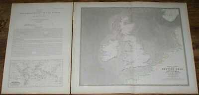 Map: 1848 Tidal Chart of the British Seas. Wave of High Water, Greenwich etc.