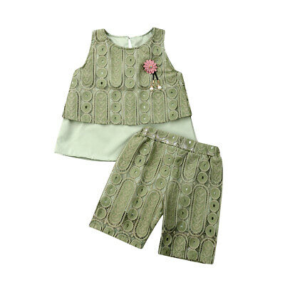 Kids Toddler Baby Girl Tops T-shirts Pants 2Pcs Outfit Lace Double Cloth Clothes
