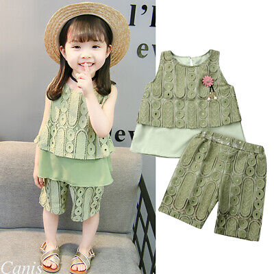2Pcs Kids Toddler Baby Girl Tops T-shirts Shorts Pants Outfits Lace Clothes 1-6Y