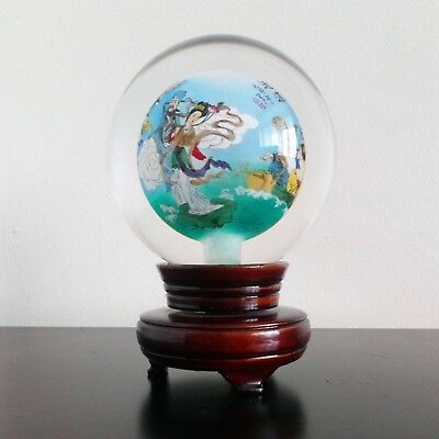 Vintage Chinese Reverse Painted Glass Sphere
