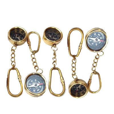 Lot Of 5 Pieces Maritime Nautical Vintage Style Brass Pocket Compass Key Chain
