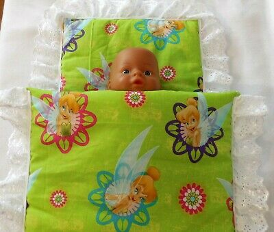 Beautiful tinker bell, Dolls Pram/cot quilted Blanket & Pillow set.
