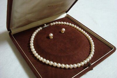 """Authentic Vintage """"Mikimoto"""" 6.6- 6.9mm Akoya Pearl Necklace and Earrings 15inch"""