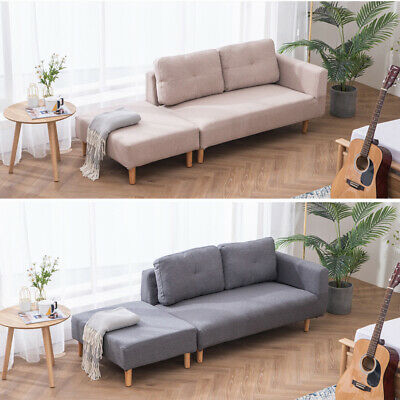 Modern Small 3 Seater Loveseat Sofa Footstool Set Upholstered Fabric Linen Chair