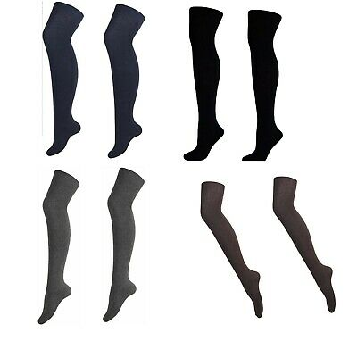 2 Pair  Girls Long Over The Knee  Cotton Rich Thick  School Socks Colour & Black