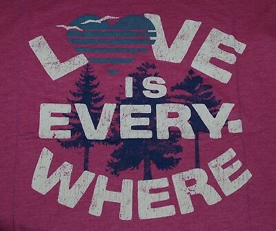 Large NWT Women's Life is Good Love Is Everywhere Pink SS Lightweight Cool Tee