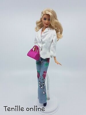 New Barbie clothes complete outfit rose  jeans pants white jacket lace shirt