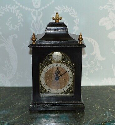 Antique Rotherhams Small Ebonised Bracket Clock with Gilt Decoration Working