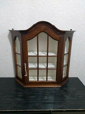 Vintage Wall Hanging Wooden Glass Display Jewellery Perfume Cabinet key Free P&P