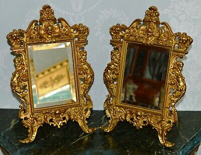 Antique Victorian Ornate Gilt Brass Pair of Easel Table Mirrors