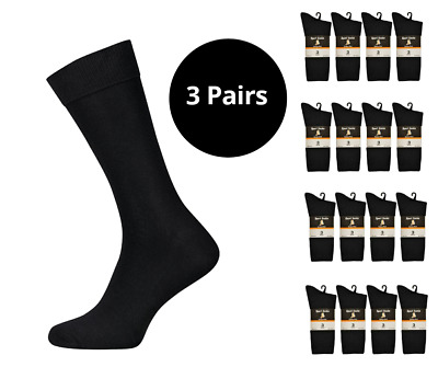 3 Pairs Mens Boys Cotton Rich Black Classic Sport Socks by Aler Size 4 / 6,5