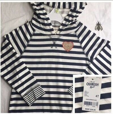 Oshkosh Lightweight Girls Hoodie Size 4t New With Tags Navy and white stripes