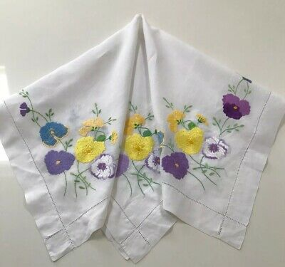 Stunning! Vintage Hand Embroidered Linen Tablecloth-BEAUTIFUL RAISED FLORAL'S