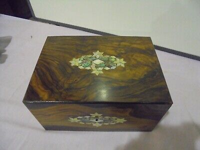 Antique Rosewood Sewing Box Inlaid With Shell And Mother Of Pearl