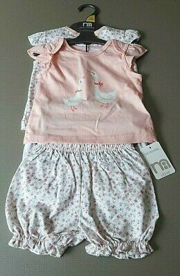 Ex store 3-6 months 2 pairs of girls 100% cotton short pyjamas New with Tag