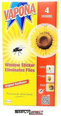 Vapona Fly Killer Window Stickers Pack Of 4 Original Sun Flower