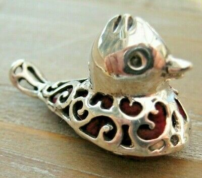 Pretty Antique Style Solid Silver Pierced Duck Pin Cushion Red Velvet