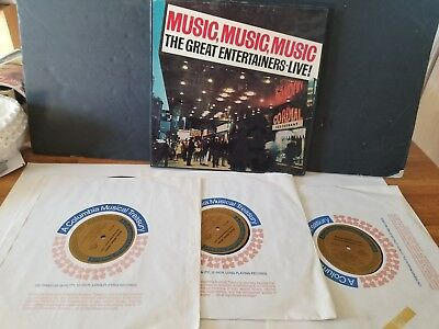 Vintage Music, Music, Music The Great Entertainers 3 Lp Record Set Excellent Con