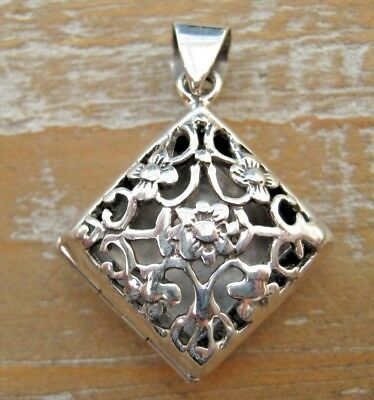 Beautiful Victorian Style Pierced Solid Silver 925 Fob Locket Pendant - Flowers