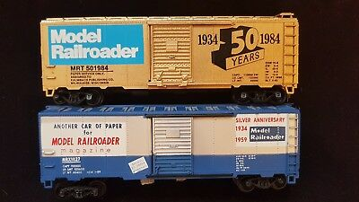 Model Railroader 50th and 25th Anniversary 40' box car set (1959 & 1984)