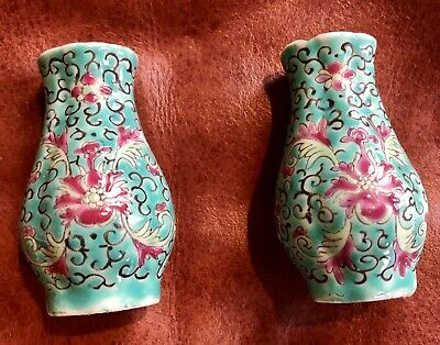 Pair Famille Rose Miniature Vases Green Ground Chinese Porcelain Old Antique