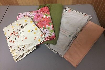 Cutter Lot of 5 Vintage Cotton Linen Vinyl Tablecloths