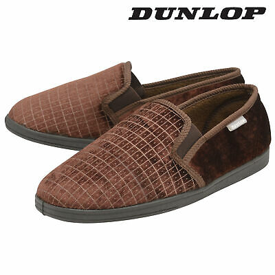 Dunlop Mens Slippers Slip On Twin Gusset Machine Washable Brown Sizes 7-12