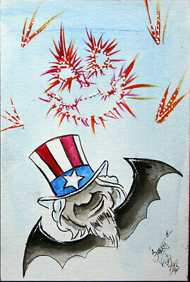 4Th Of July Uncle Sam Halloween Art Watercolor Vintage Folk Painting Outsider