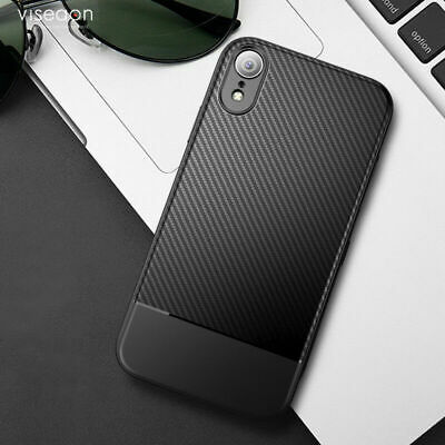 For Apple iphone XS Max XR X Shockproof Hybrid Carbon Fiber Soft TPU Case Cover