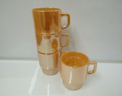 TERMOCRISA Vintage 1960's Orange Lustre Mugs x 4 | Retro 1960's Mexico