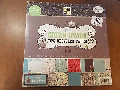 """DCWV GREEN RECYLED 12""""x12"""" Premium Stack Paper Pad (48 Sheets) Craft"""