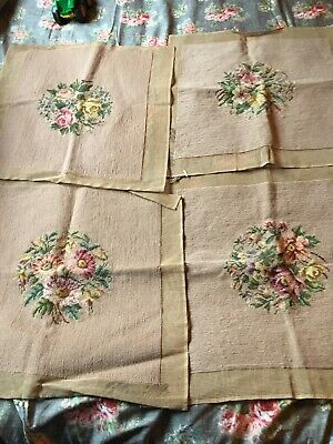 Set Of Four Large Floral Needlepoint Pieces