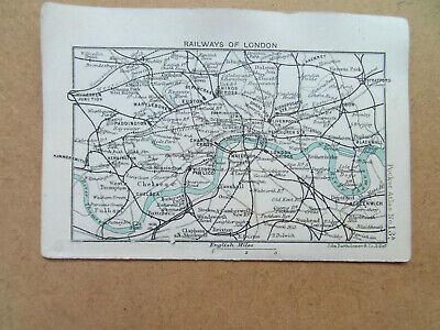 Railways Of London Small 1900 Bartholomews Map +British Isles Railways Verso