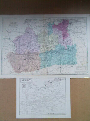 SURREY ANTIQUE MAPS NICE PAIR BACON DATED 1896 50cmx34cm  + SMALLER 1912 MAP