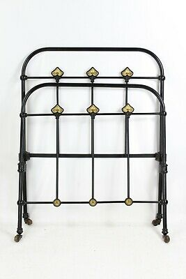 Antique Victorian Iron & Brass Single Bed - Vintage Cast Iron 3FT Black Bedstead