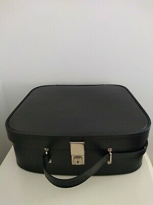 Vintage Retro 60s 70s Black Vinyl Bag Mod vanity suitcase weekend Cheney key Exc