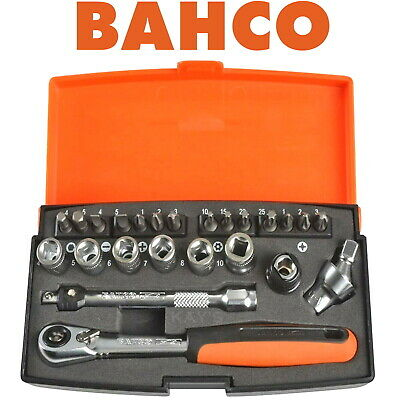 "BAHCO 24 PIECE 1/4"" DRIVE RATCHET SOCKET & SCREWDRIVER BITS SET, 4mm-10mm,  SL24"