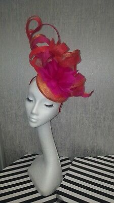 Cerise fuschia pink orange gold fascinator hatinator for wedding/races Ascot