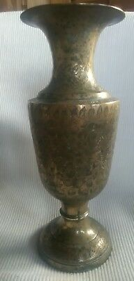 Very Large Detailed Floral Indian Brass Standing Vase (2)
