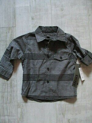 DKNY Boy's LONG SLEEVED Shirt STRIPED DESIGN 12 Months BLACK/Grey BABY New Tags