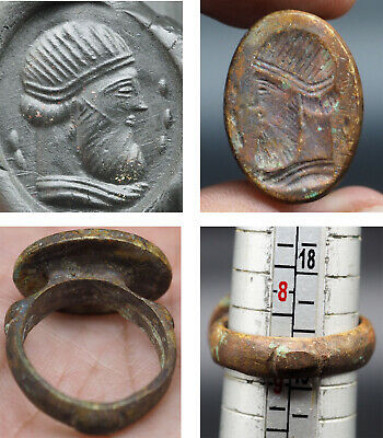 Wonderful Rare ancient roman bronze Seal Signature Ring #SR1359