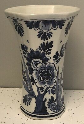 """DELFT Hand Painted Blue & White Vintage Vase  with Floral Decor 5.25"""" ~ HOLLAND"""