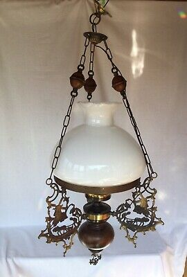 Vintage Dutch Large Brass & Wood Oil Lamp Style Ceiling Lamp Light 90 cm (REF 1)