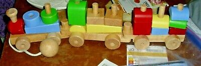 2010 Pottery Barn Wooden Train Block Set Great Learning Toy