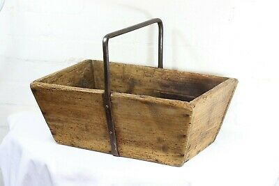 French Wooden Trug Beautiful Antique with Wrought Iron Handle 19th Century